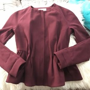 H&M Peplum Structured Blazer in Burgundy